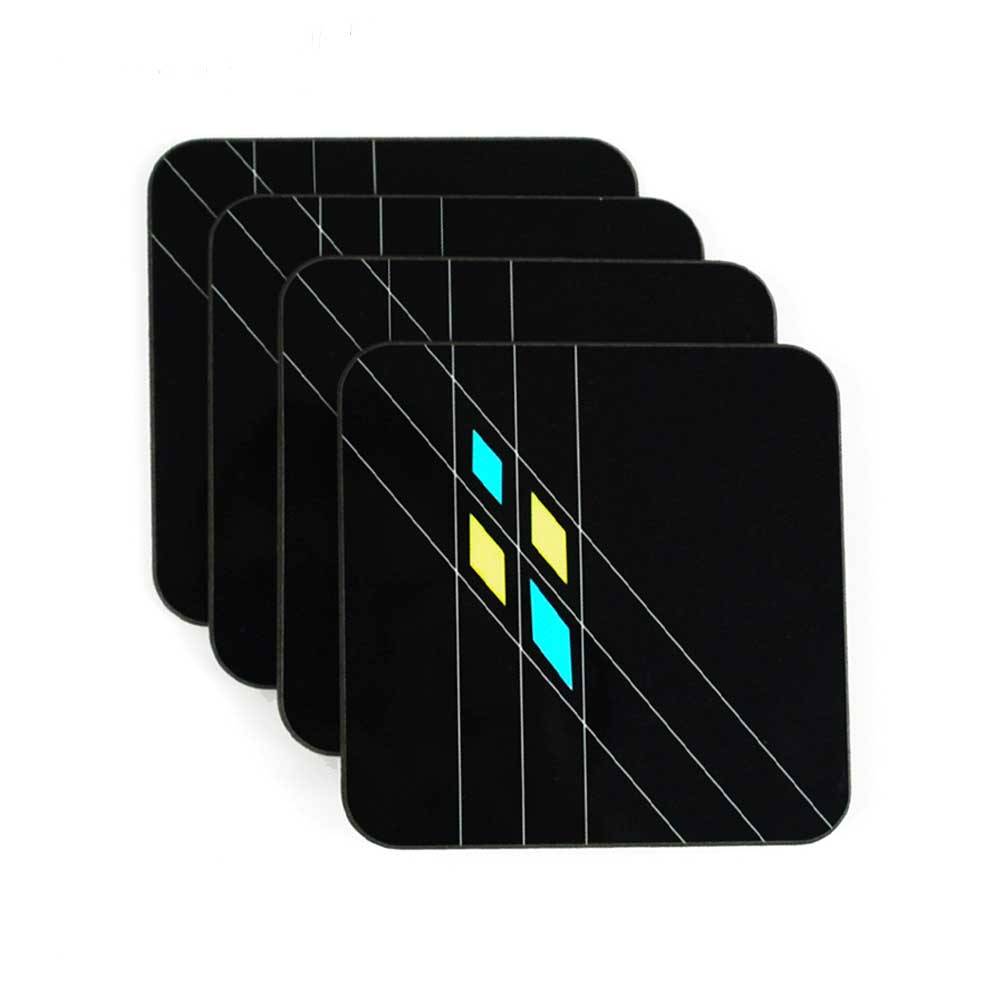 Set of 4 Mid Century Geometric Coasters in Black | The Inkabilly Emporium