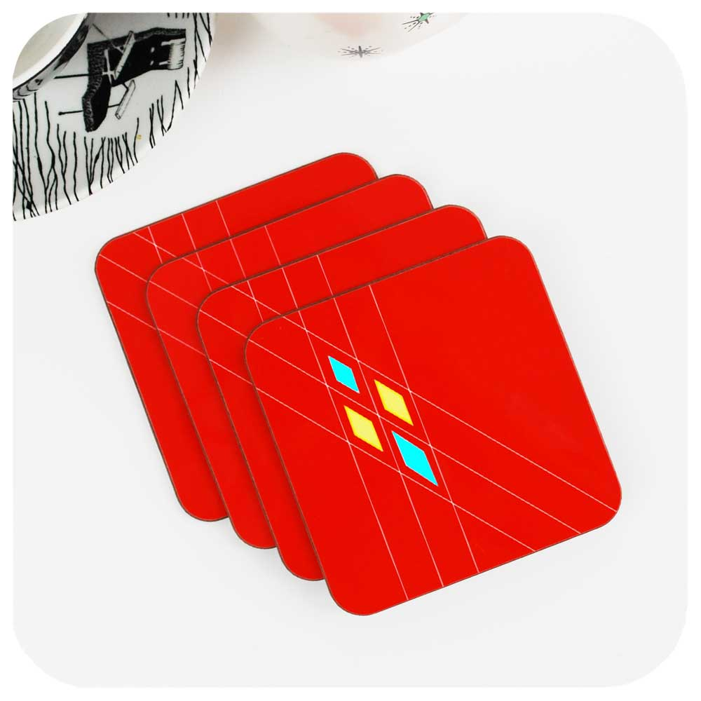 Mid Century Argyle Coasters in Red, Set of 4 | The Inkabilly Emporium
