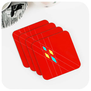 Mid Century Geometric Coasters in Red, Set of 4 | The Inkabilly Emporium