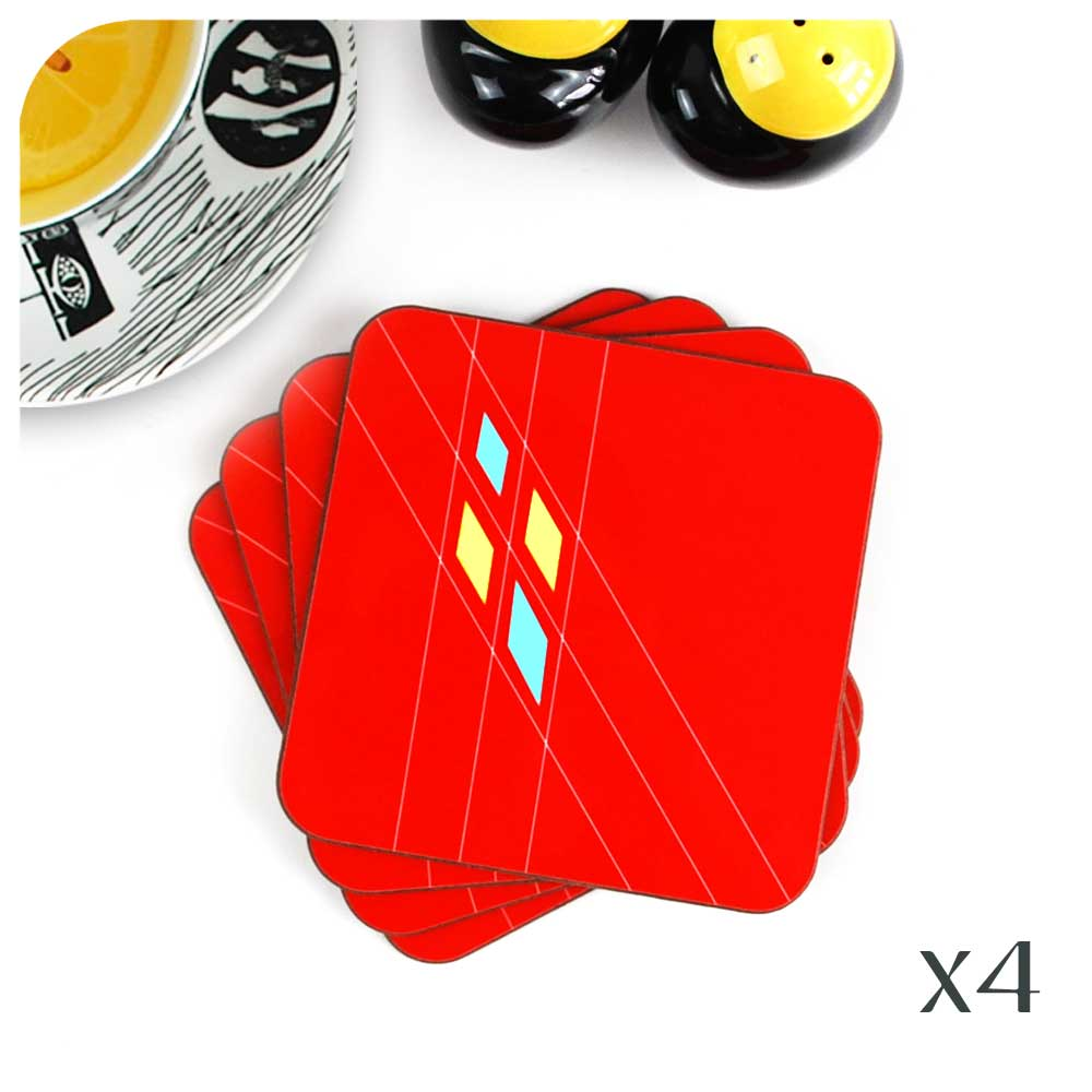 Red Mid Century Geometric Coasters, Set of 4 | The Inkabilly Emporium