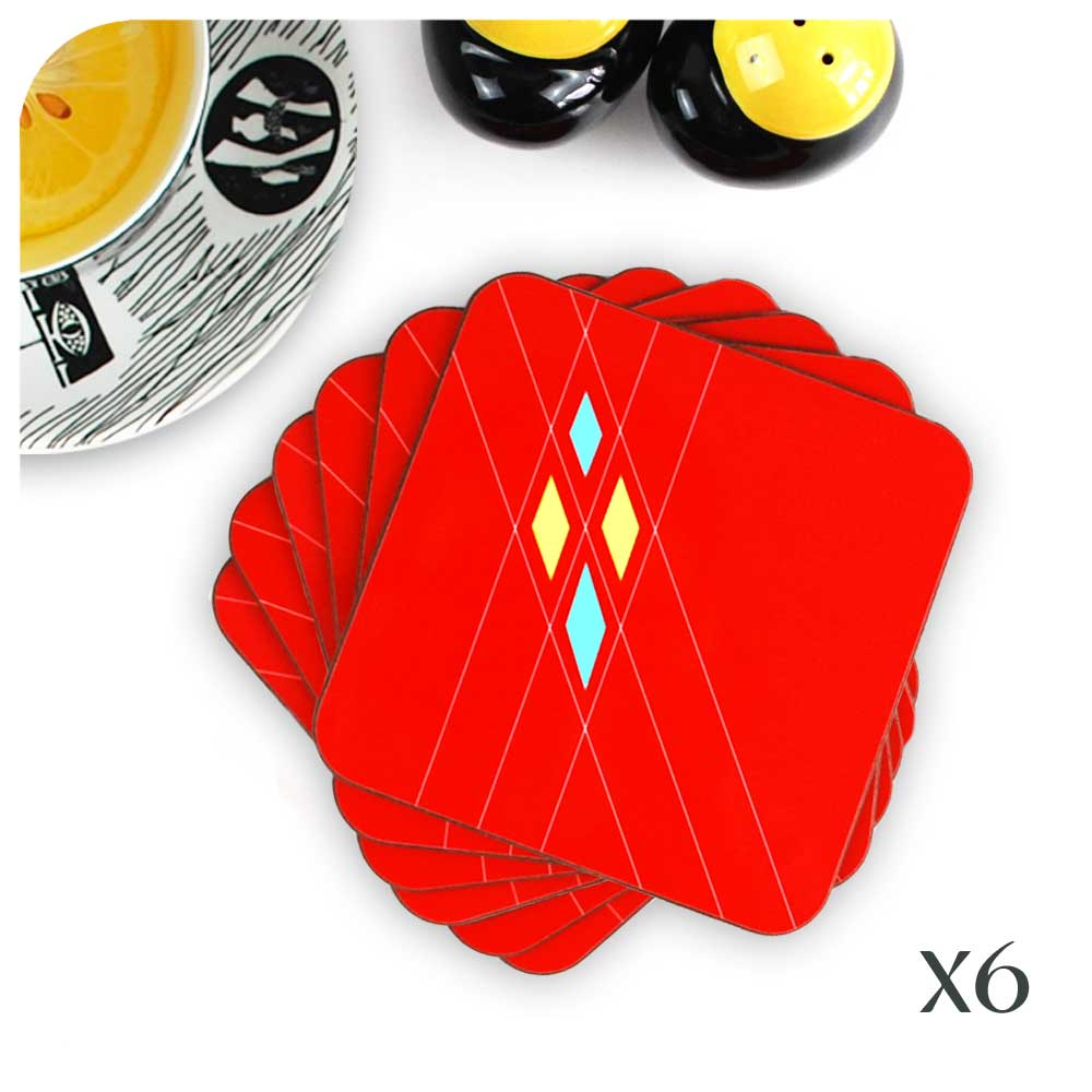 Set of 6 Mid Century Geometric Argyle Coasters in Red| The Inkabilly Emporium