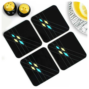 Mid Century Geometric Coasters in Black, set of 4 | The Inkabilly Emporium