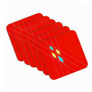 Mid Century Geometric Argyle Coasters in Red, Set of 6 | The Inkabilly Emporium