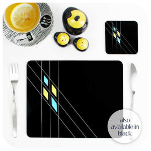 Mid Century Geometric Placemats & Coasters also available in Black | The Inkabilly Emporium