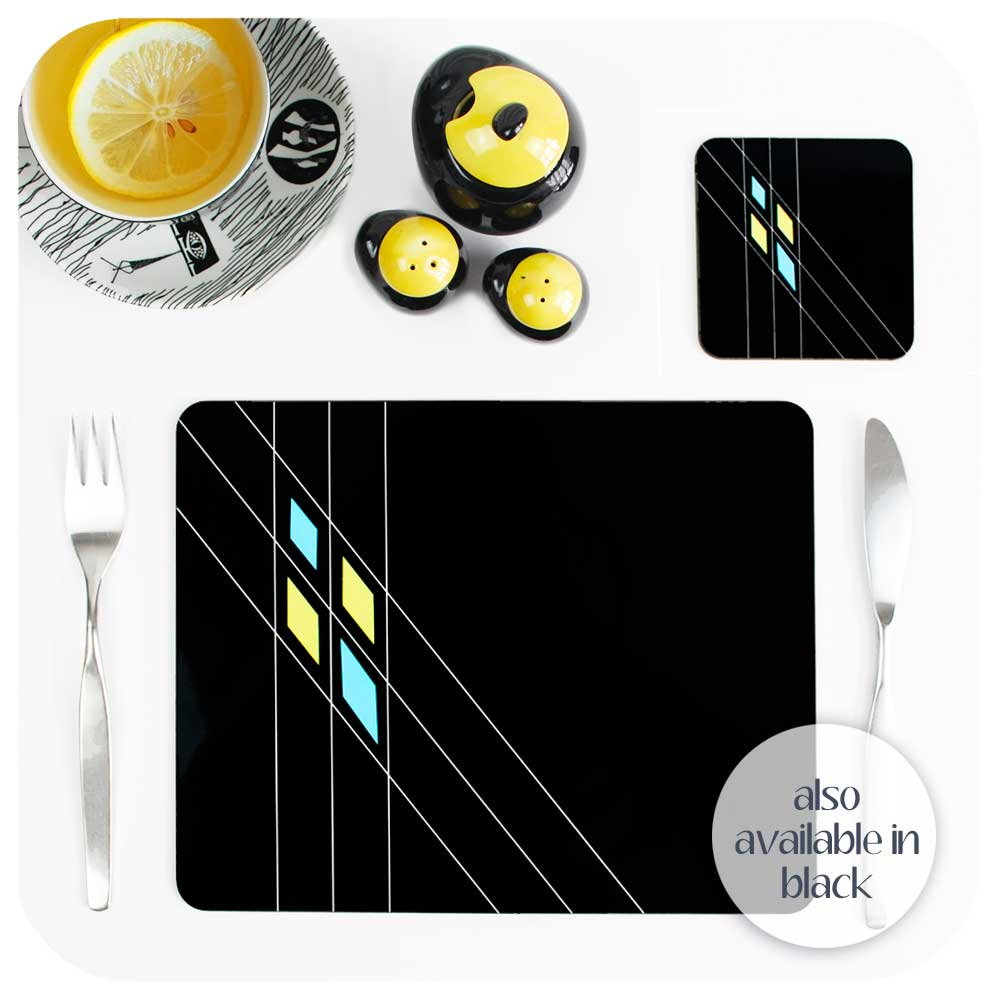 Mid Century Geometric Argyle Coasters & Placemats also available in Black | The Inkabilly Emporium