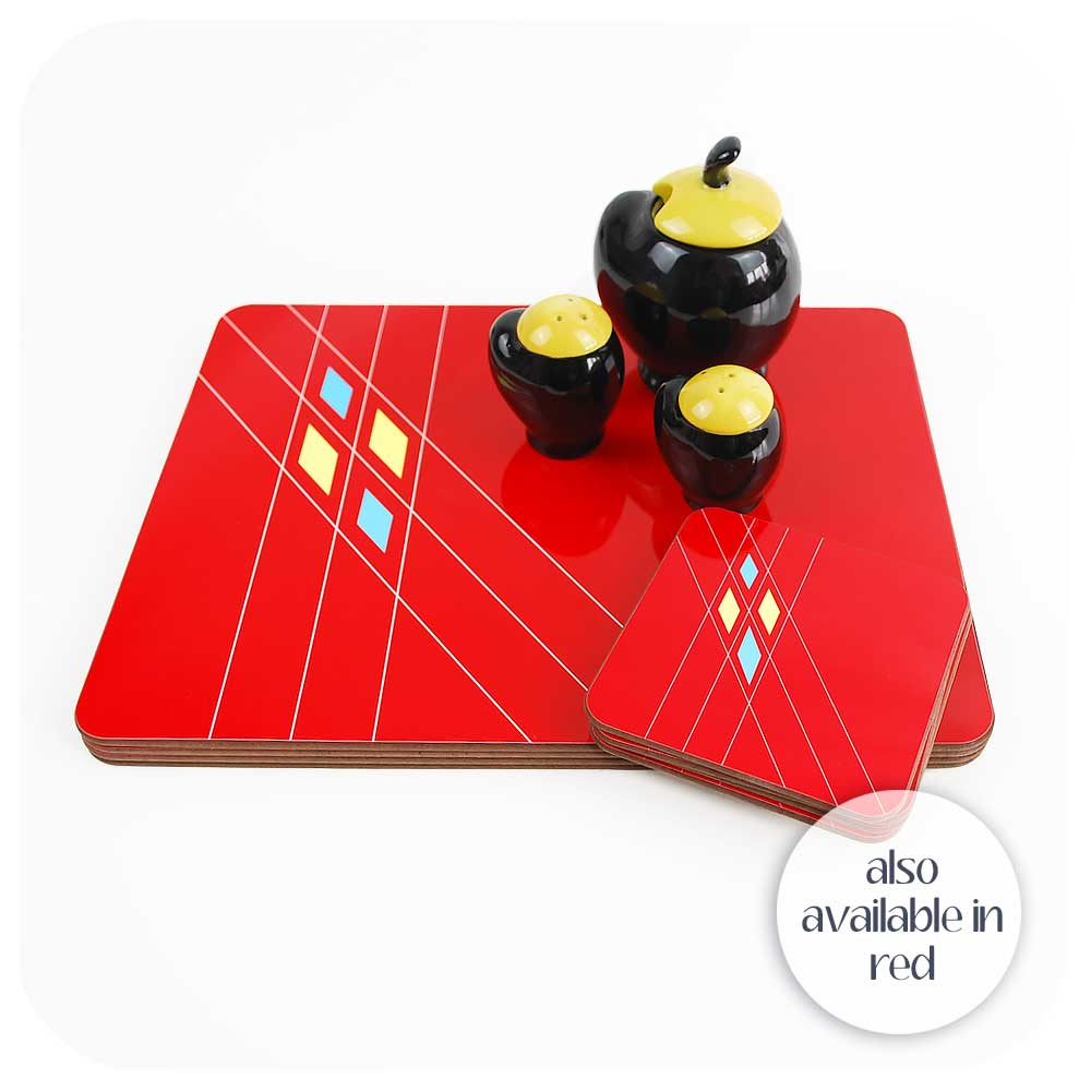 Mid Century Geometric Placemats & Coasters also available in Red | The Inkabilly Emporium