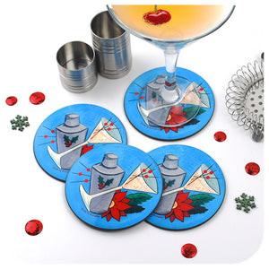 Mid Century Christmas Cocktail Coasters, set of 4 | The Inkabilly Emporium with Ladyjo Bangles