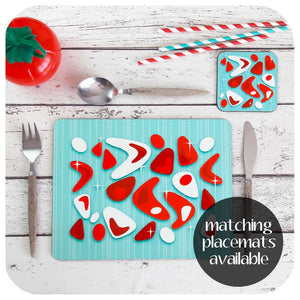 Matching Turquoise and Red Atomic Boomerang Placemats also available | The Inkabilly Emporium