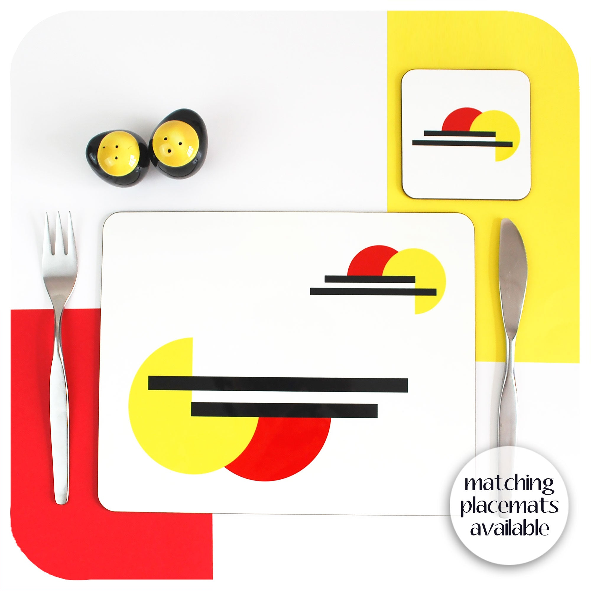 Bauhaus Placemat and matching Coaster, set on a table with vintage cutlery and cruet set | The Inkabilly Emporium | The Inkabilly Emporium
