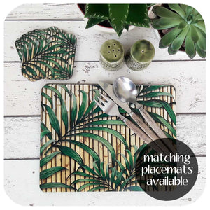 Tropical Palm Leaf Coasters, set of 6 | The Inkabilly Emporium