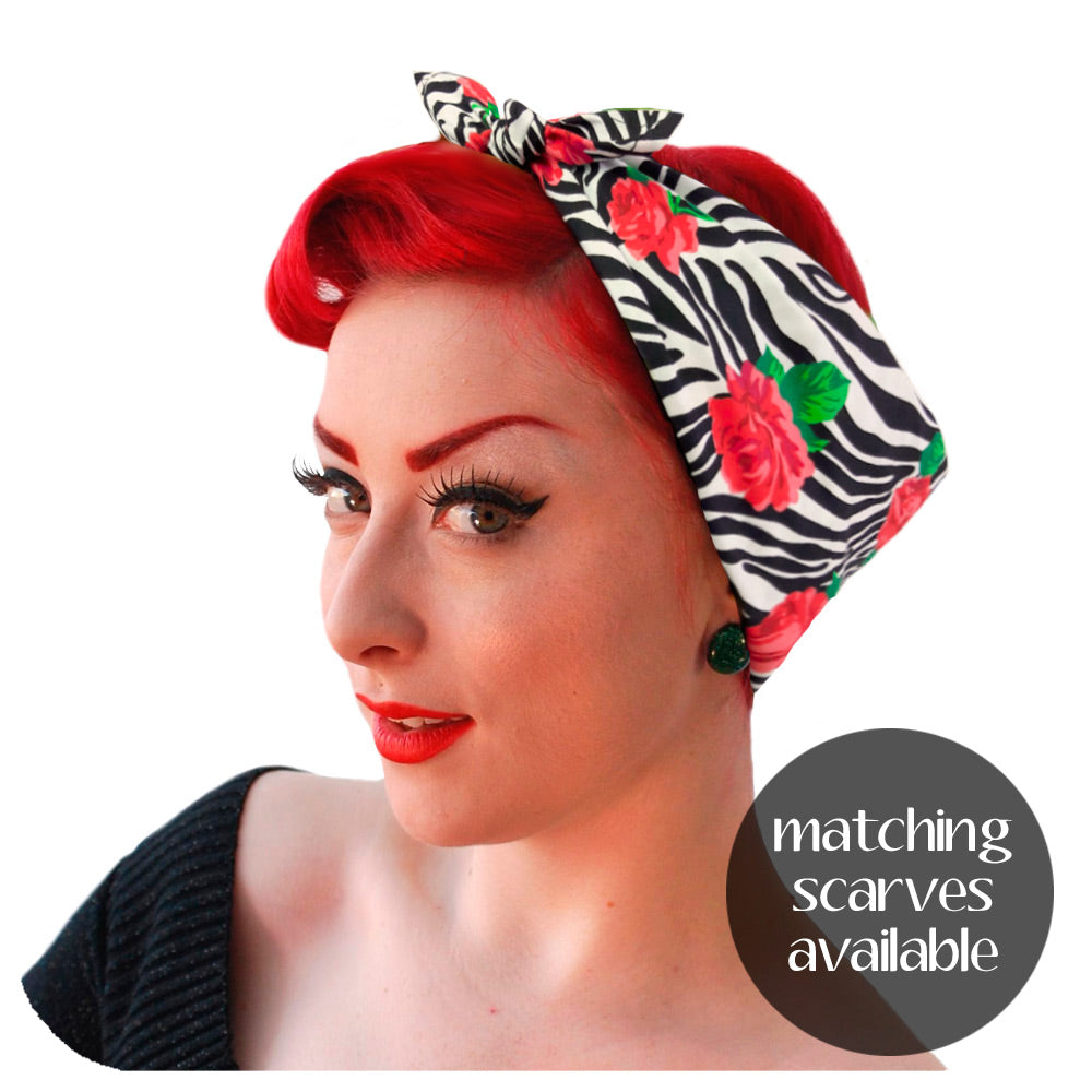Matching Zebra Rose Headscarf available | The Inkabilly Emporium