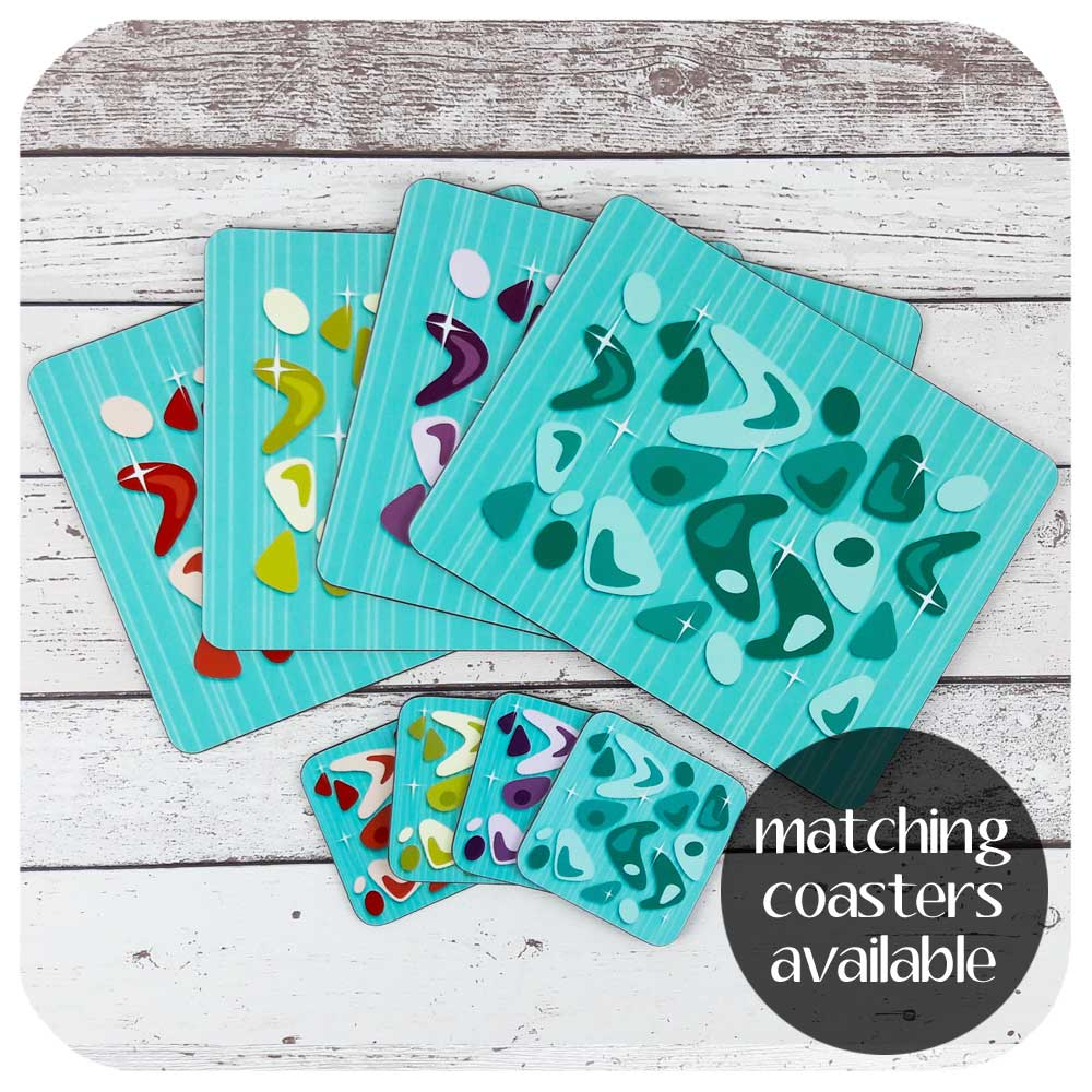 Atomic Boomerang Place Setting - Placemats and Matching Coasters  | The Inkabilly Emporium