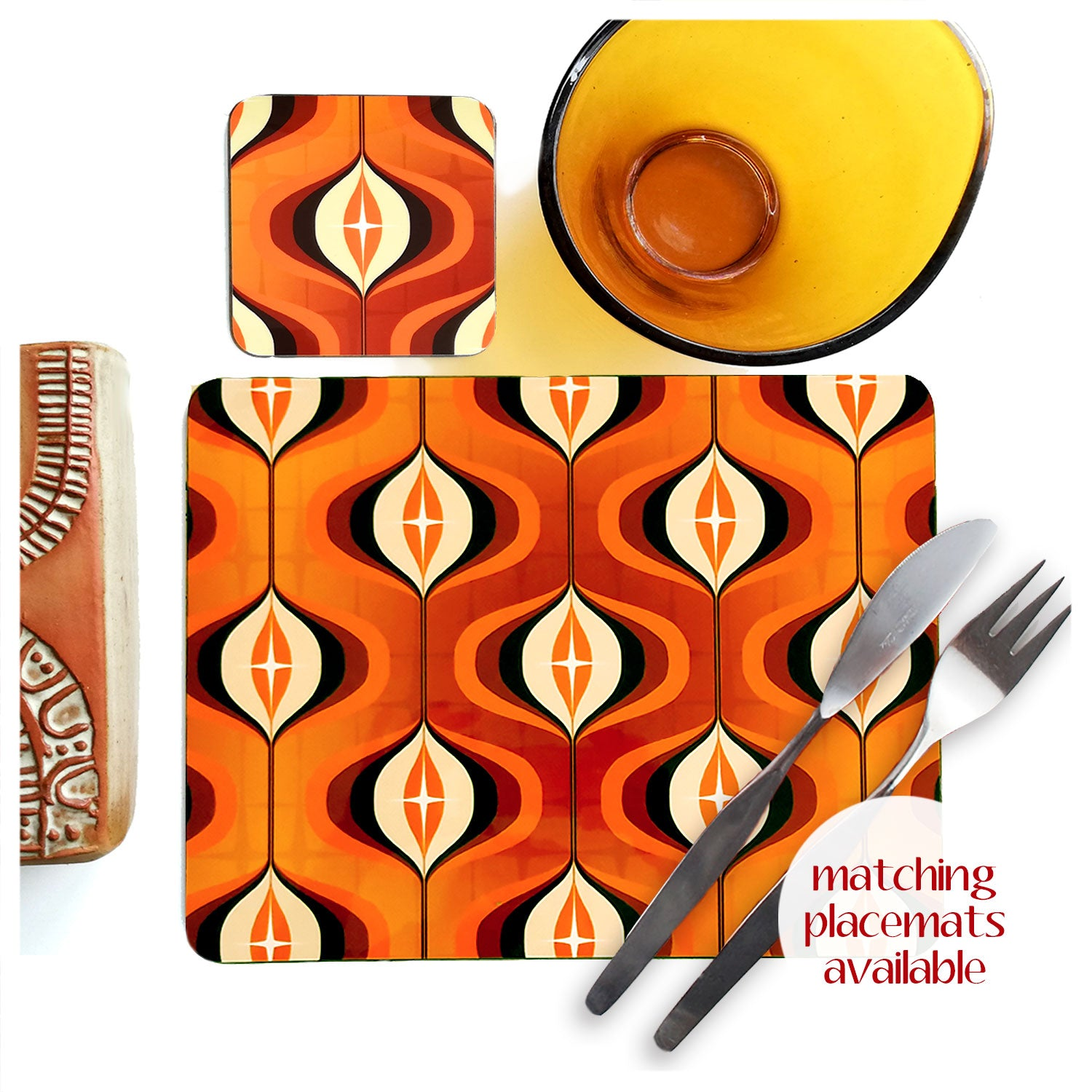 1970s Op Art Coasters, Orange, set of four