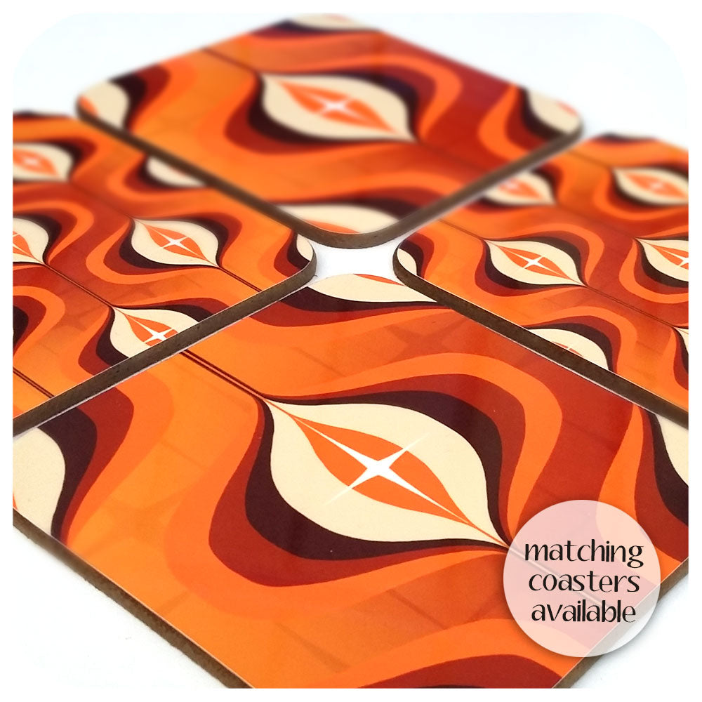 Matching Orange Op Art Coasters | The Inkabilly Emporium