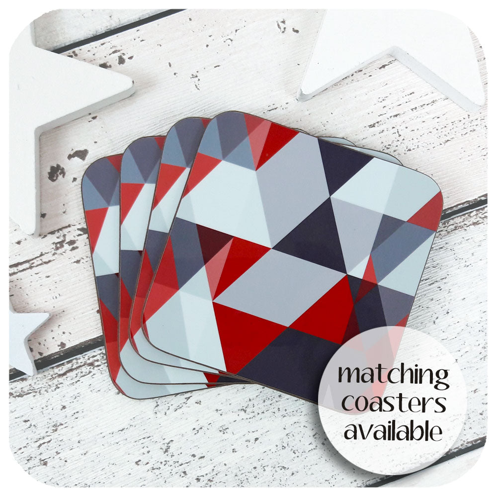 Matching Scandi Geometric Coasters in Grey & Red | The Inkabilly Emporium