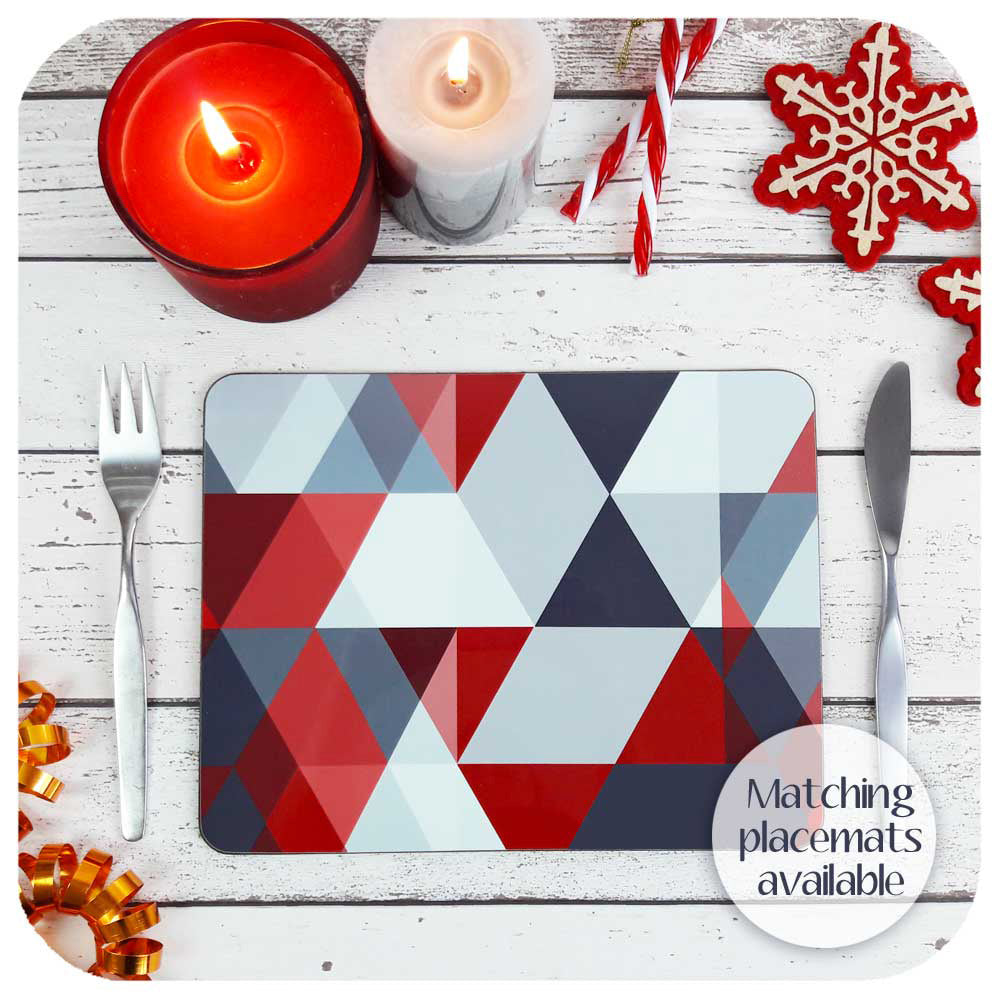 Matching Red & Grey Scandi Placemat with christmas decor and candles | The Inkabilly Emporium