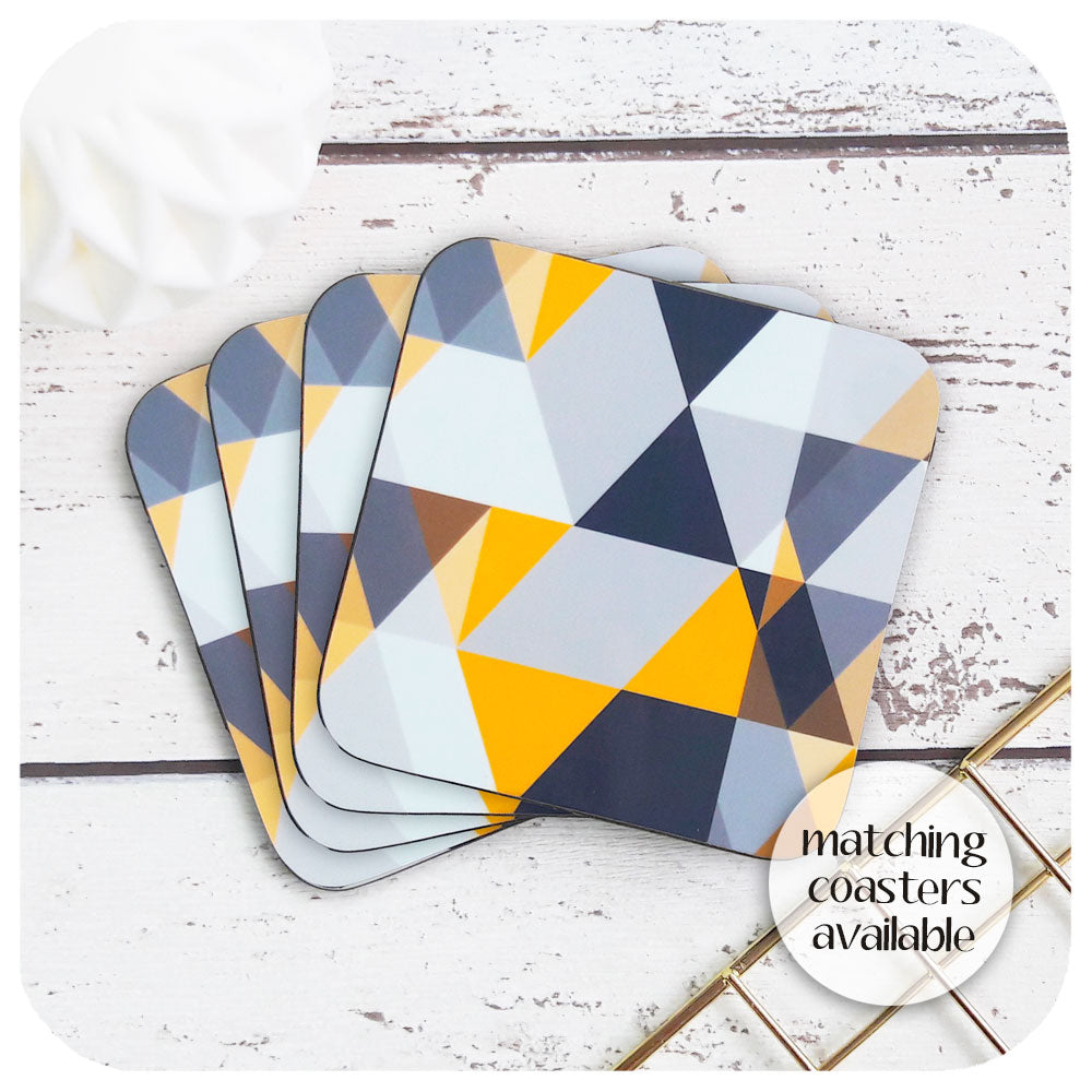Matching Scandi Geometric coasters to complete the Yellow & Grey Scandi tableware set  | The Inkabilly Emporium