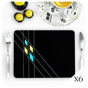 Black Mid Century Geometric Placemat set of 6 | The Inkabilly Emporium