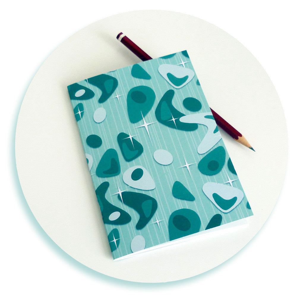 Atomic Boomerang Notebook in turquoise by Inkabilly