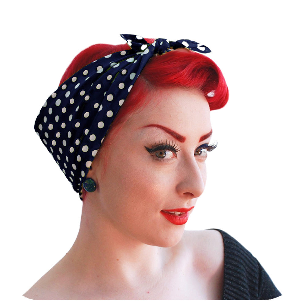 Navy Polka Dot Bandana worn in a Rockabilly style | The Inkabilly Emporium.