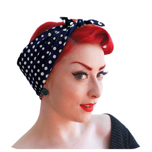 Navy Polka Dot Bandana | The Inkabilly Emporium