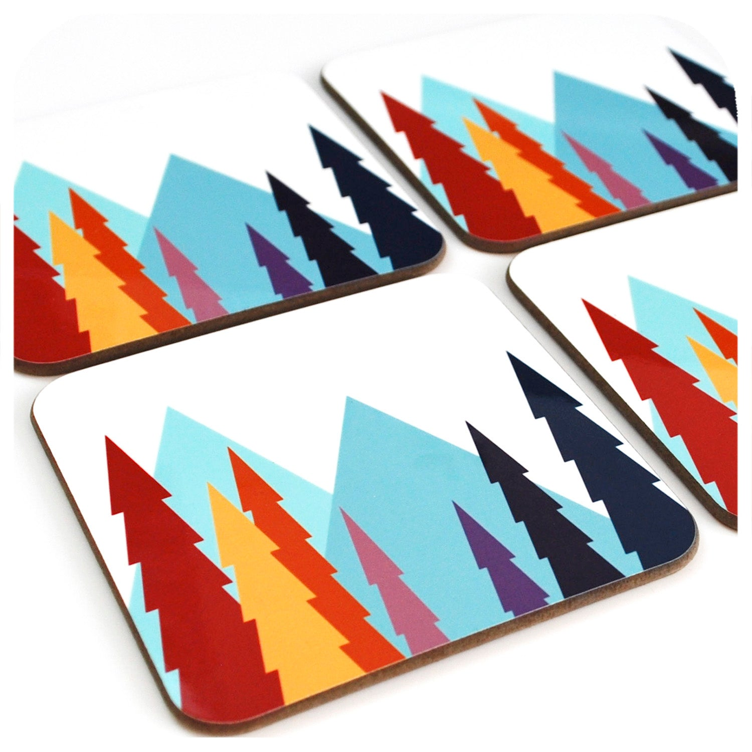 Set of four Nordic Trees Coasters| The Inkabilly Emporium
