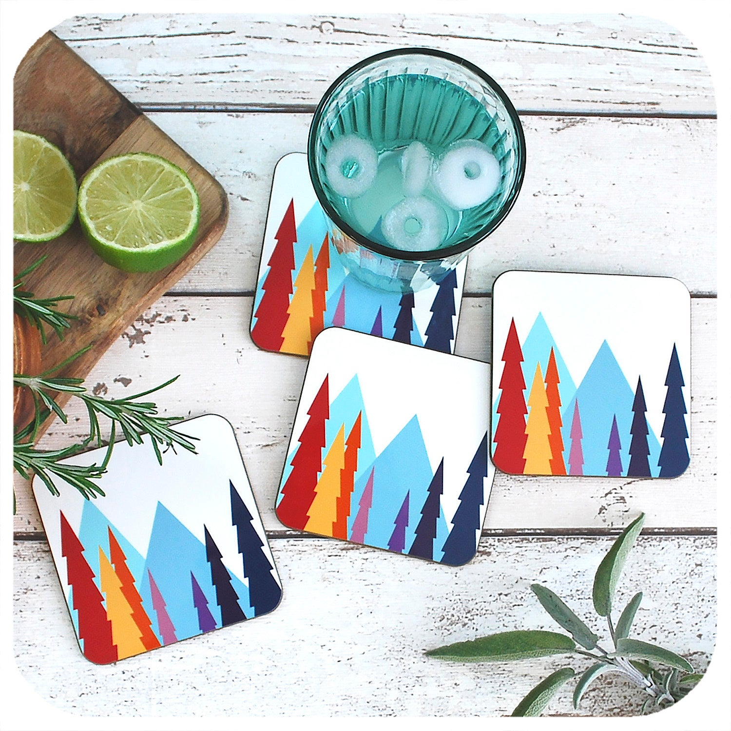 Nordic Trees Drinks Coasters, set of 4 | The Inkabilly Emporium
