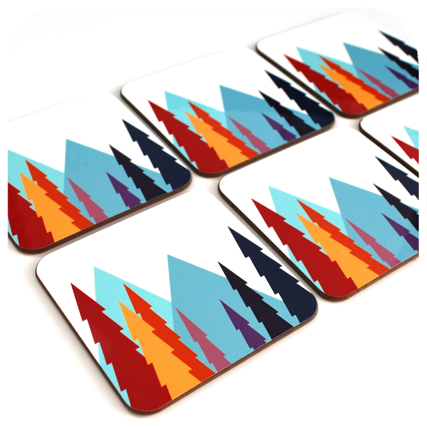 Nordic Trees Coasters, set of 6 Scandi style drinks coasters | The inkabilly Emporium