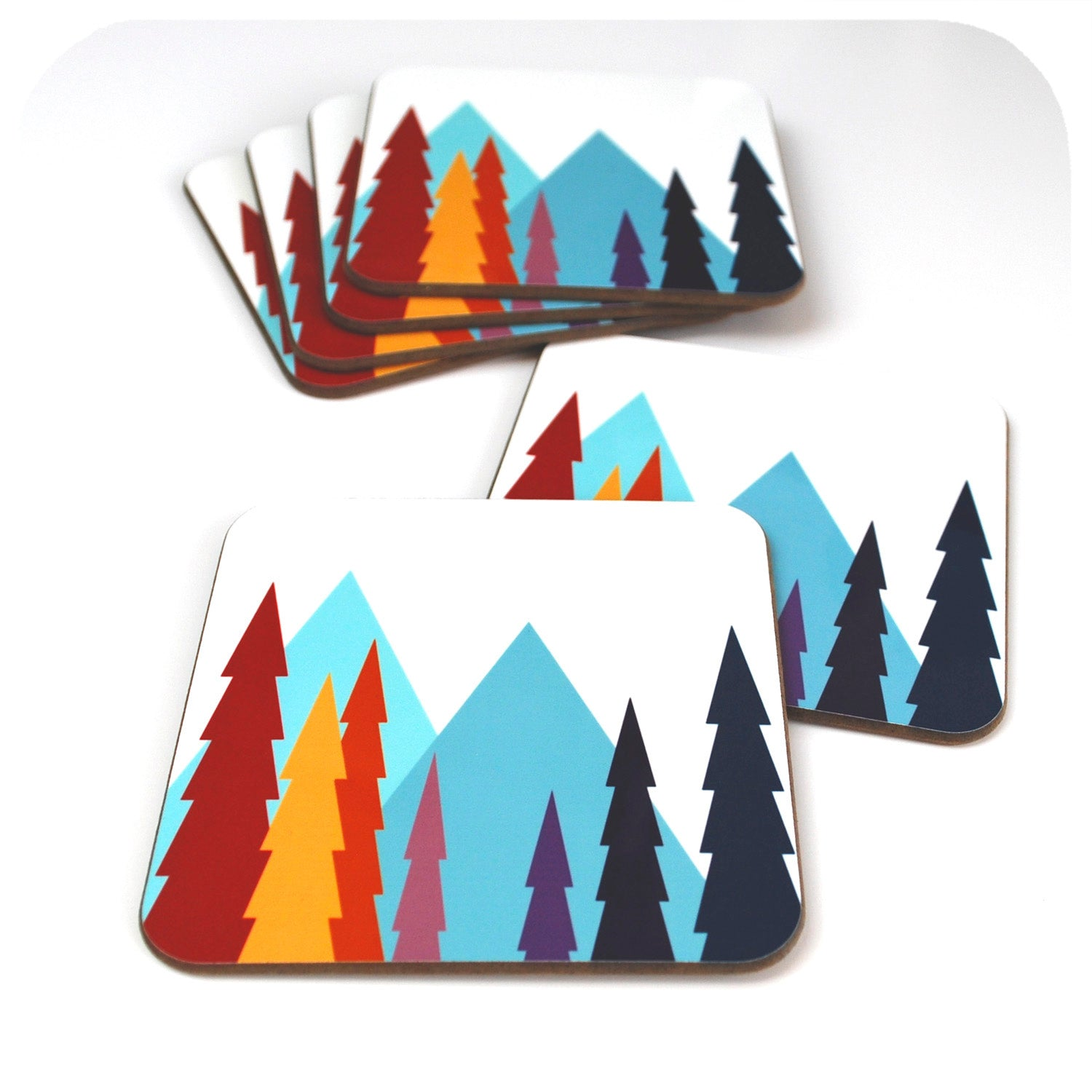 Set of 6 Nordic Trees Coasters| The inkabilly Emporium