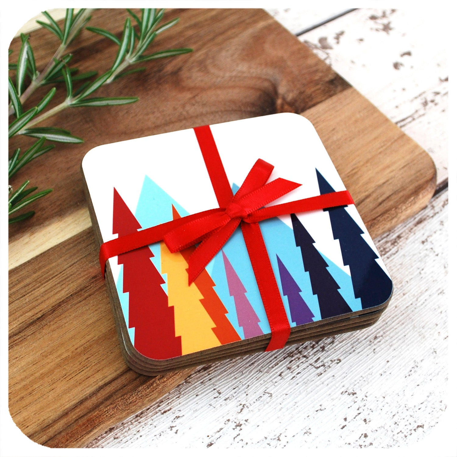 Nordic Trees Coasters, wrapped in red ribbon | The Inkabilly Emporium