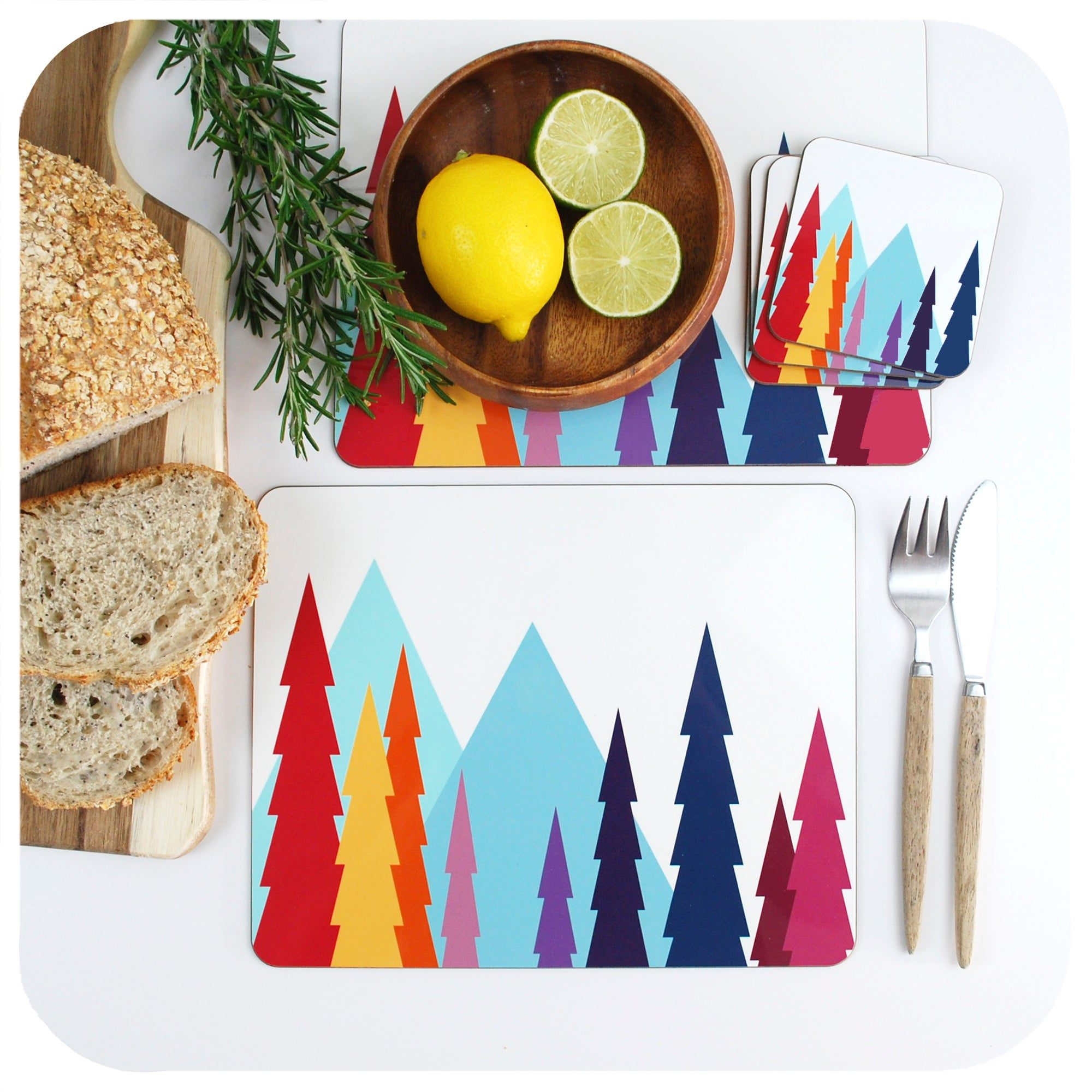 Nordic Trees Placemats and Coasters, Scandi style Tableware | The Inkabilly Emporium