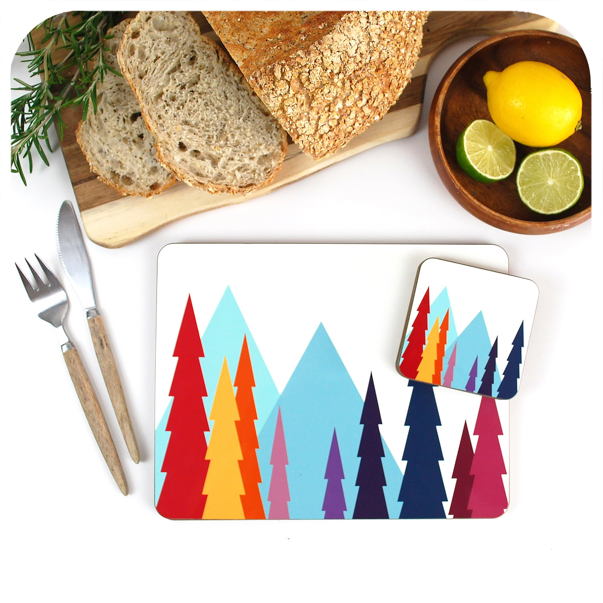 Nordic Trees Placemat and Coaster Set, single place setting | The Inkabilly Emporium