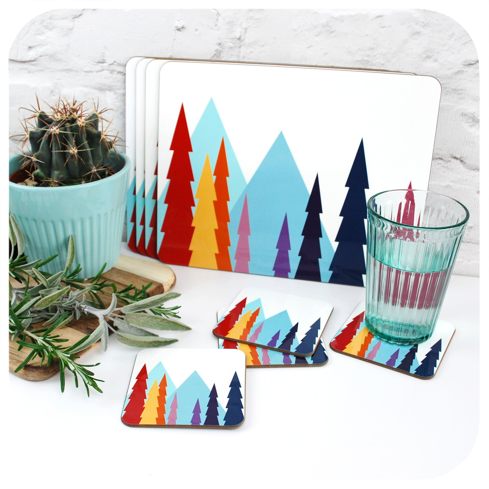 Nordic Trees Placemats and Coasters with cactus, herbs and glass of water | The Inkabilly Emporium