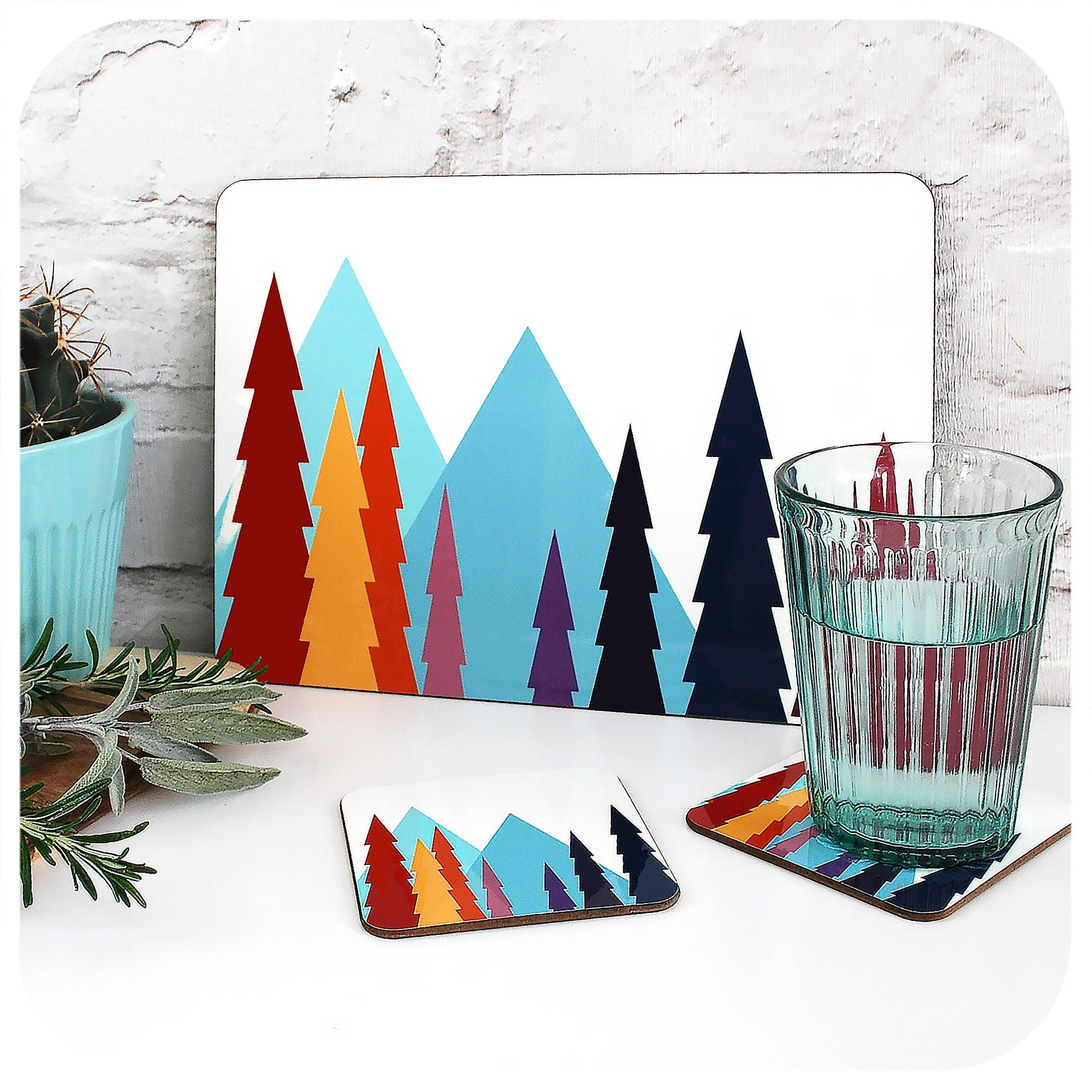 Nordic Trees Placemat and matching coaster | The Inkabilly Emporium