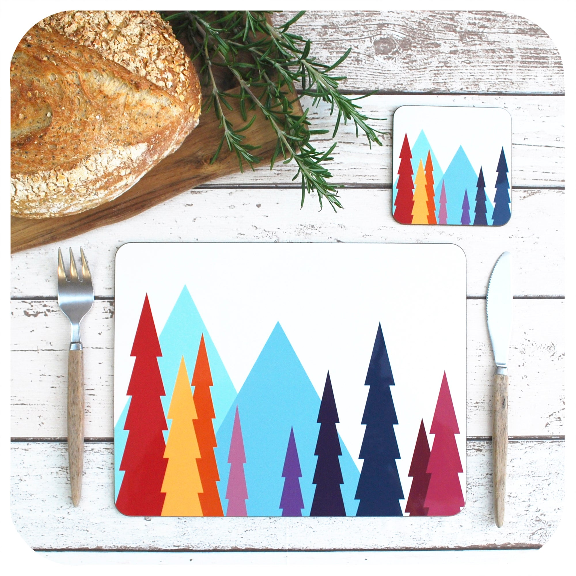 Nordic Trees Placemat and Coaster Set | The Inkabilly Emporium
