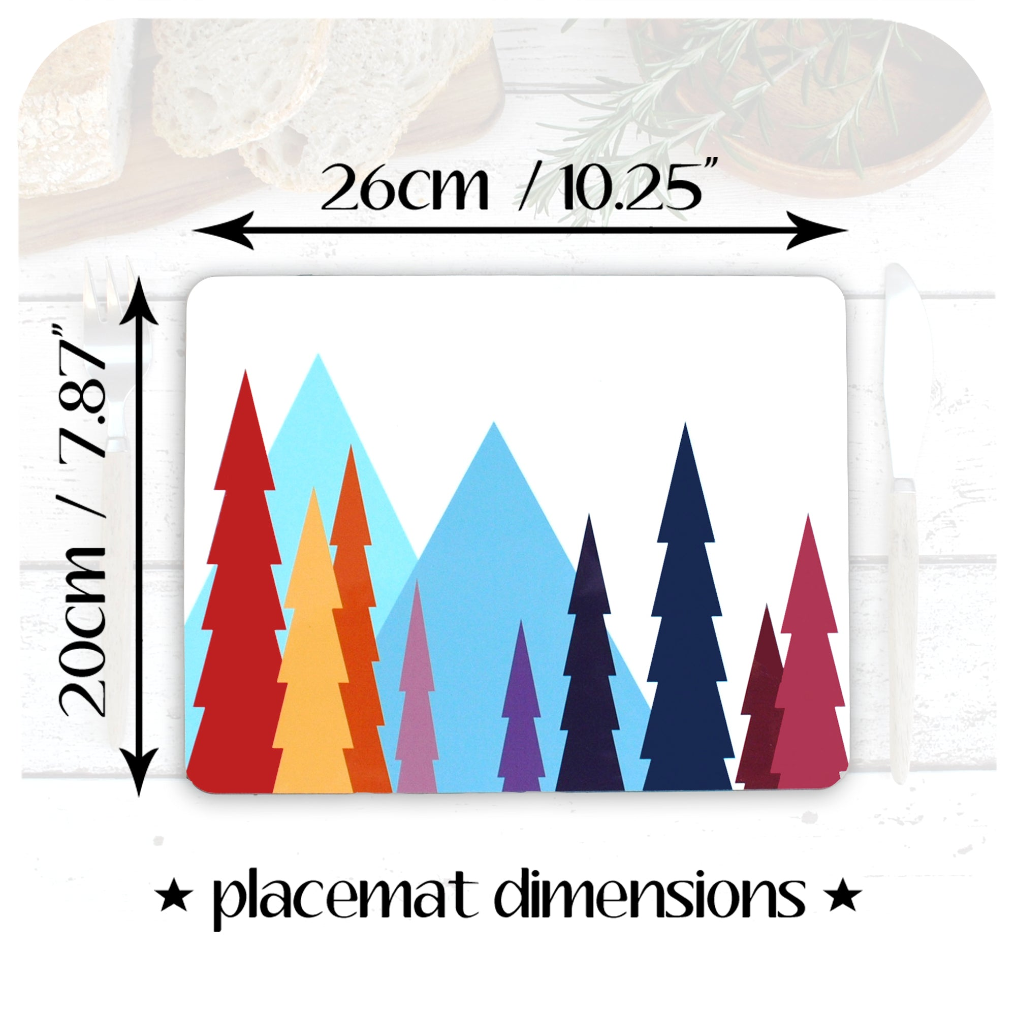 Nordic Trees Placemat dimensions 20cm x 23cm | The Inkabilly Emporium