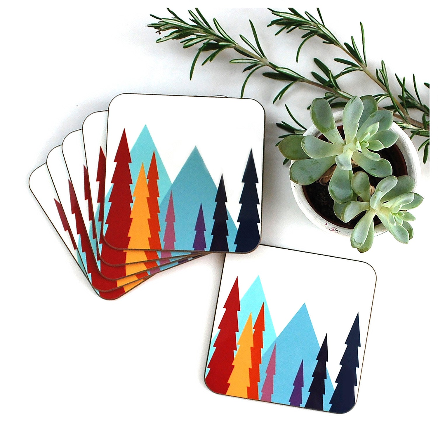 Nordic Trees Coasters, set of 6, in a stack with succulent | The inkabilly Emporium