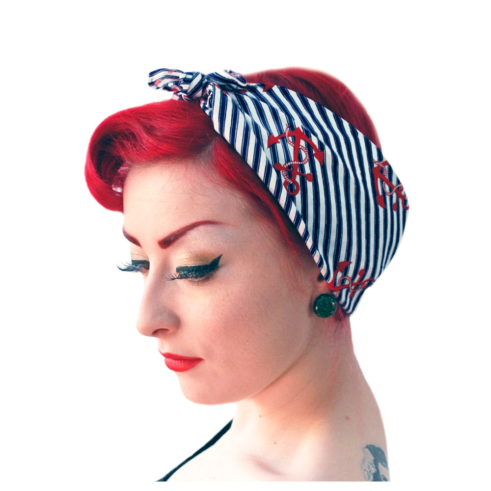 Anchors & Stripes Nautical Bandana | The Inkabilly Emporium