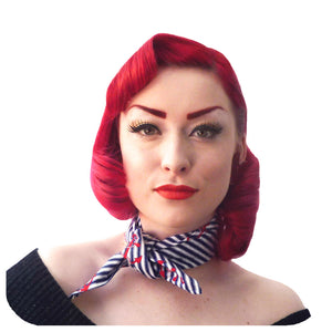 Red Anchors & Navy Stripes Bandana | The Inkabilly Emporium