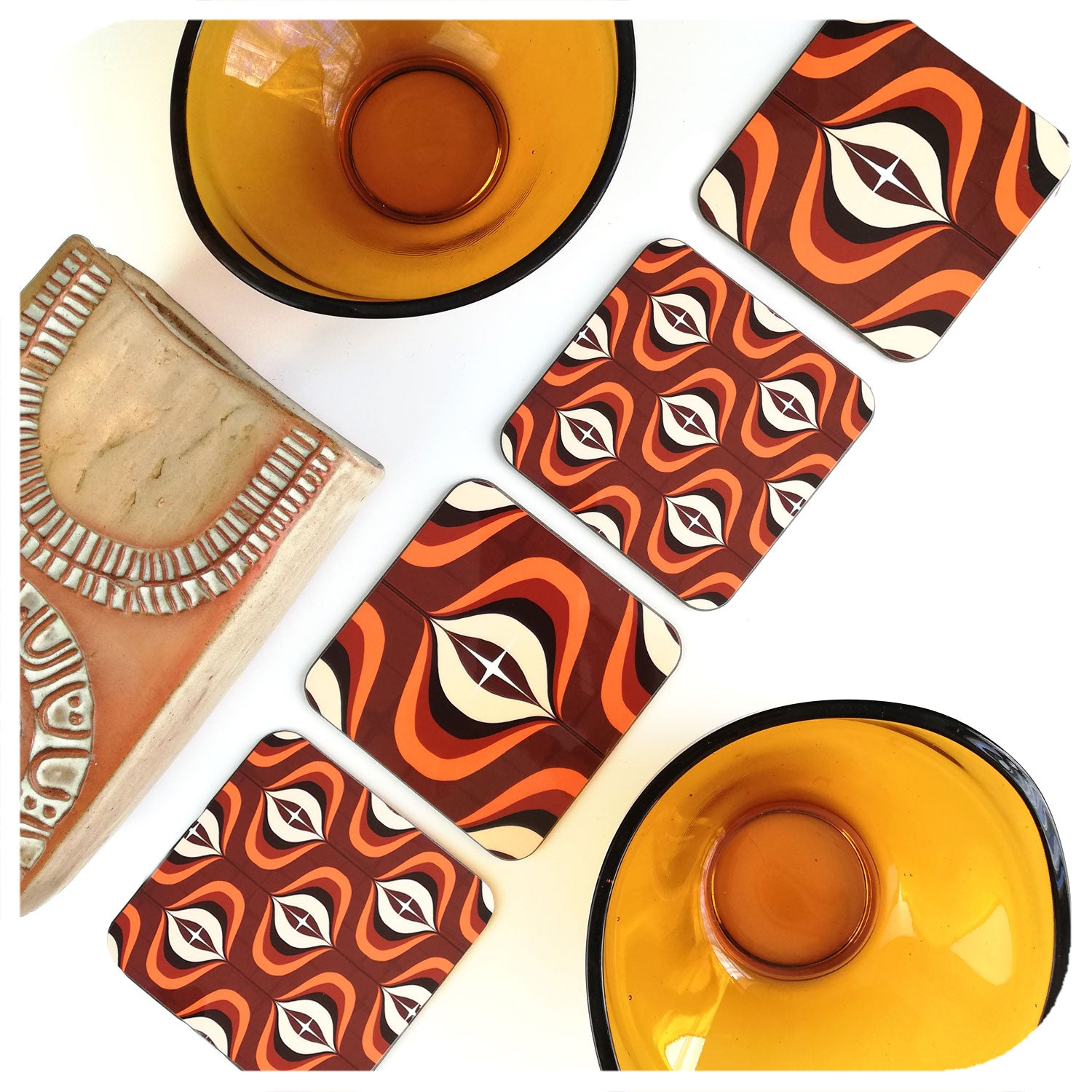 1970s Brown Op Art Coasters with vintage vase and bowls | The Inkabilly Emporium
