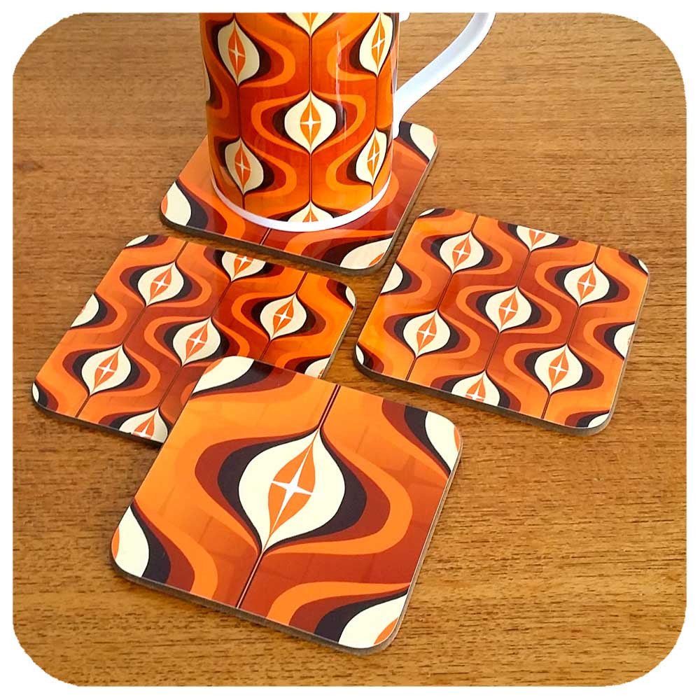 Orange Op Art retro coasters, available in sets of 4 or 6  | The Inkabilly Emporium