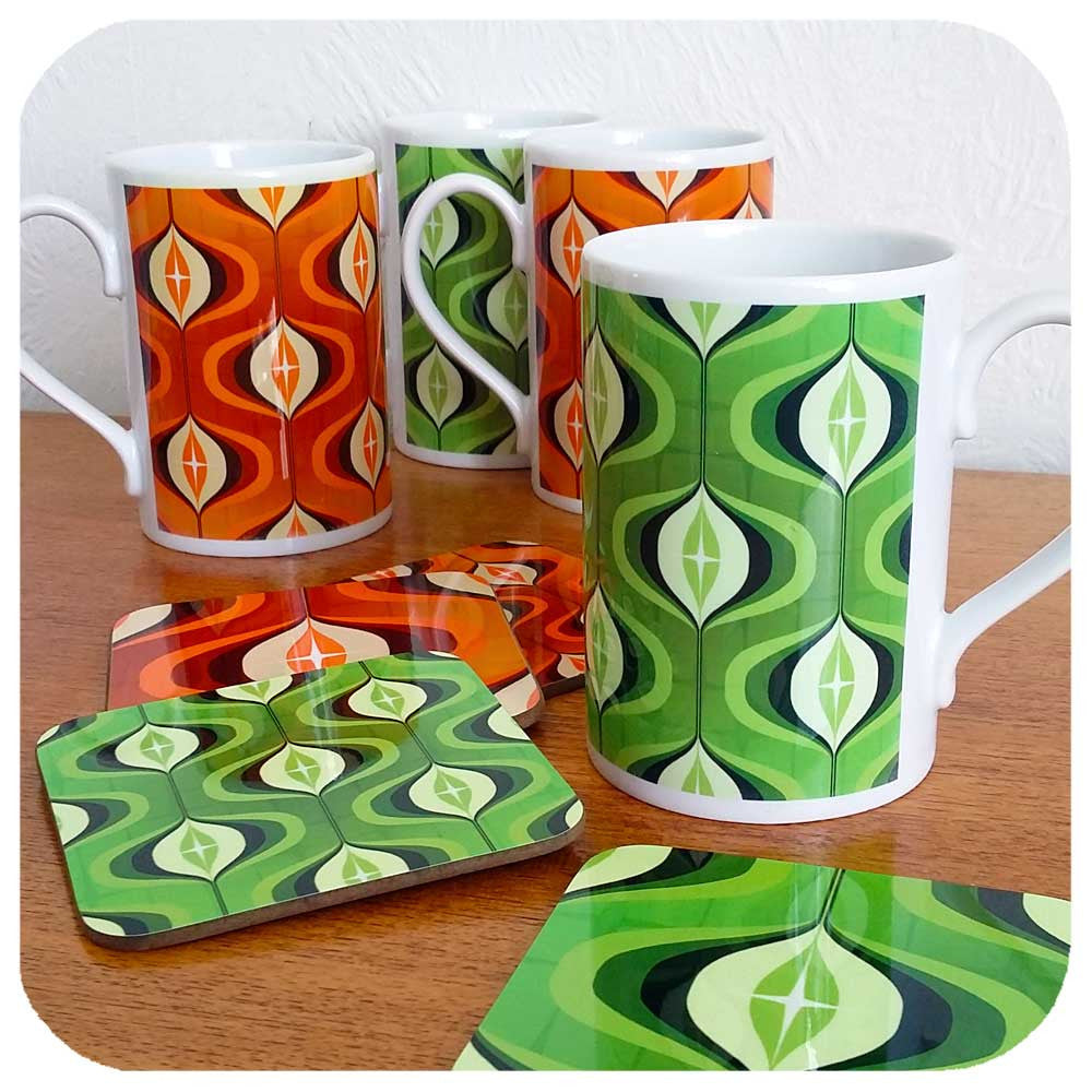 Mid Century Op Art inspired mugs and coasters