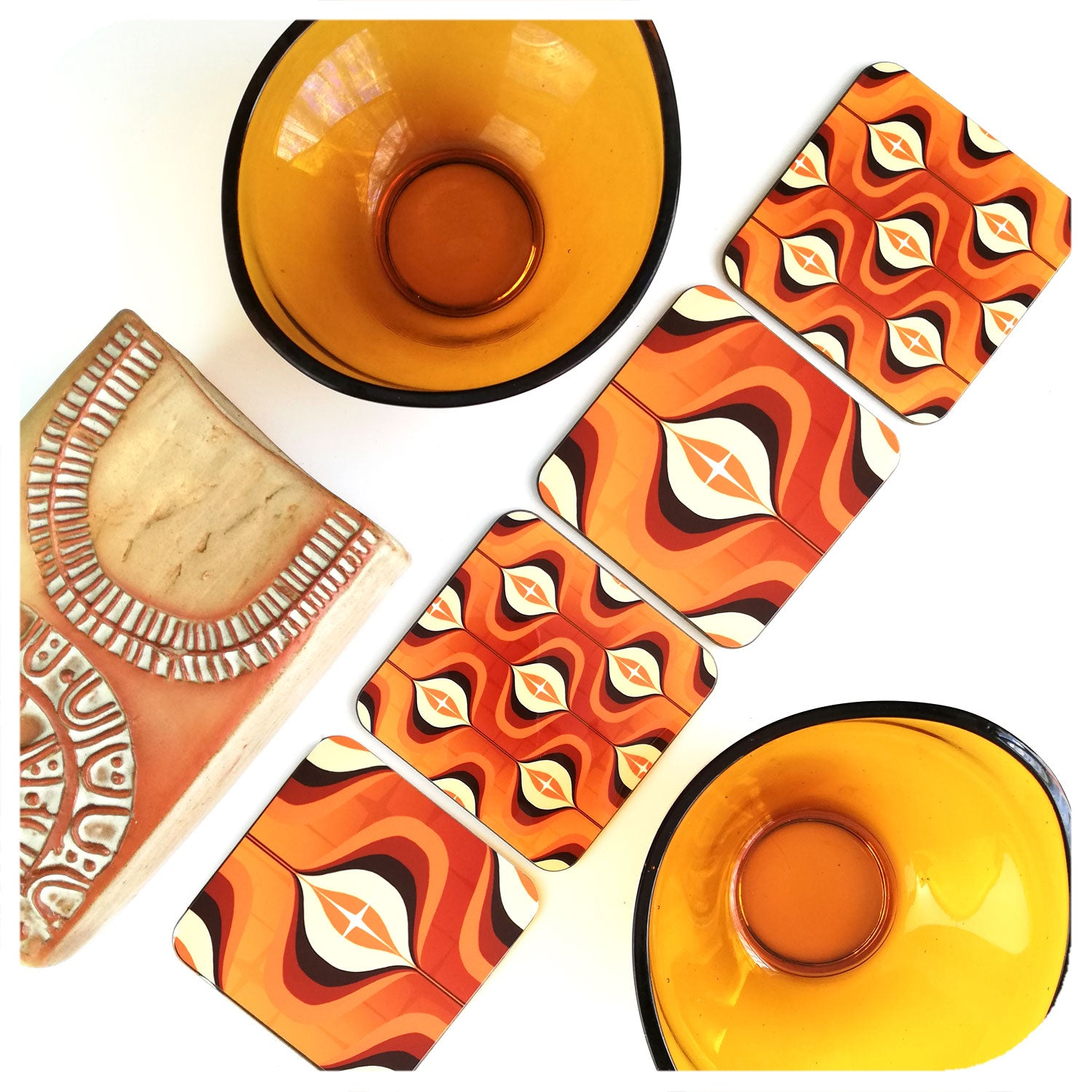 Orange Op Art Coasters with mid century bowls and vase | The Inkabilly Emporium