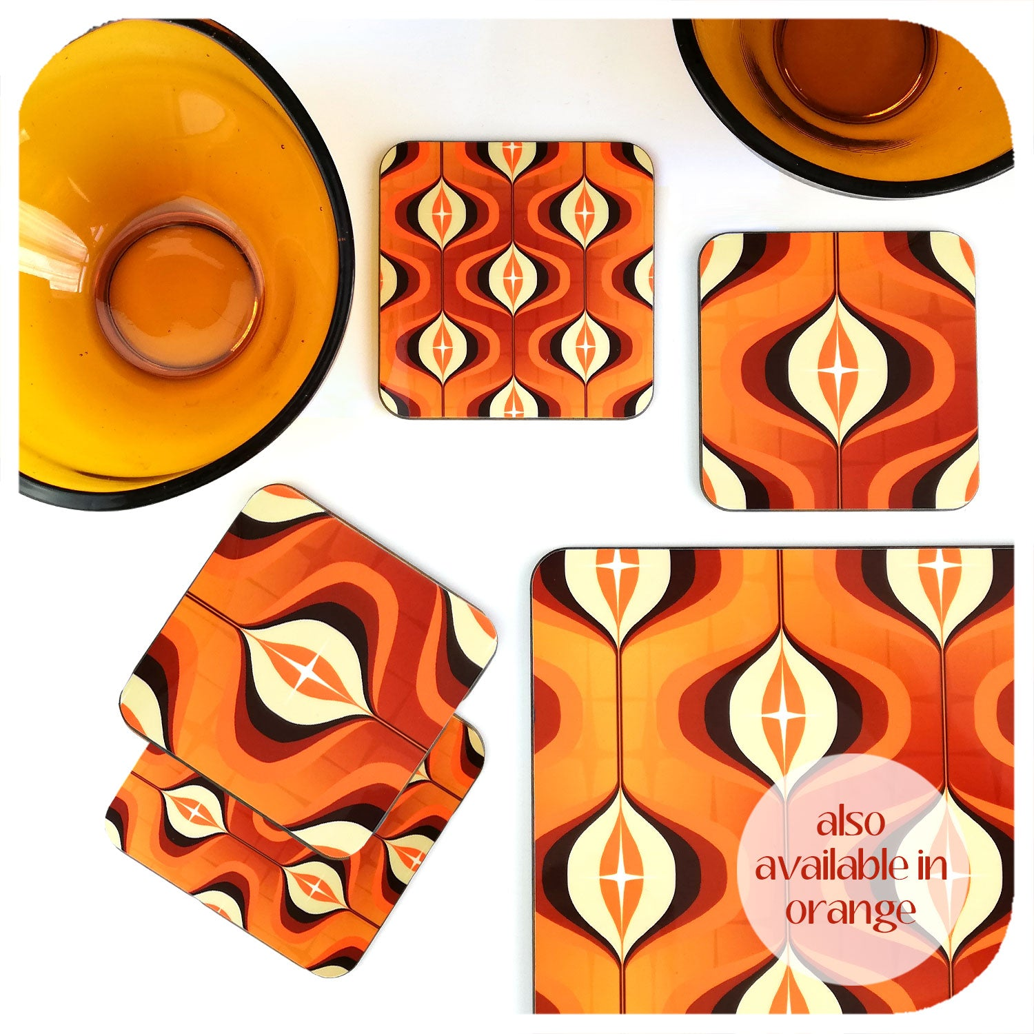 Orange 1970s Op Art Coasters & Placemat with vintage bowls | The Inkabilly Emporium