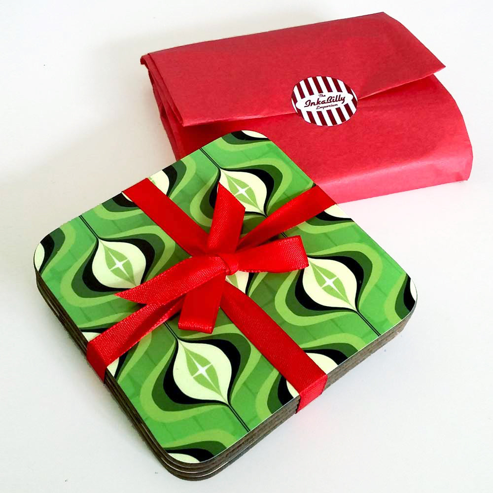 Green 70s Op Art Coasters, set of 4 wrapped in red ribbon and gift wrapped | The Inkabilly Emporium