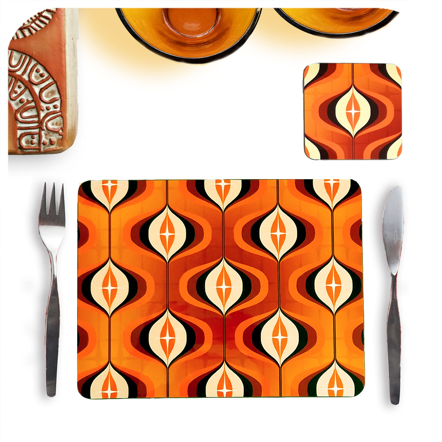 70s Orange Op Art Placemat and Coaster Set by Inkabilly