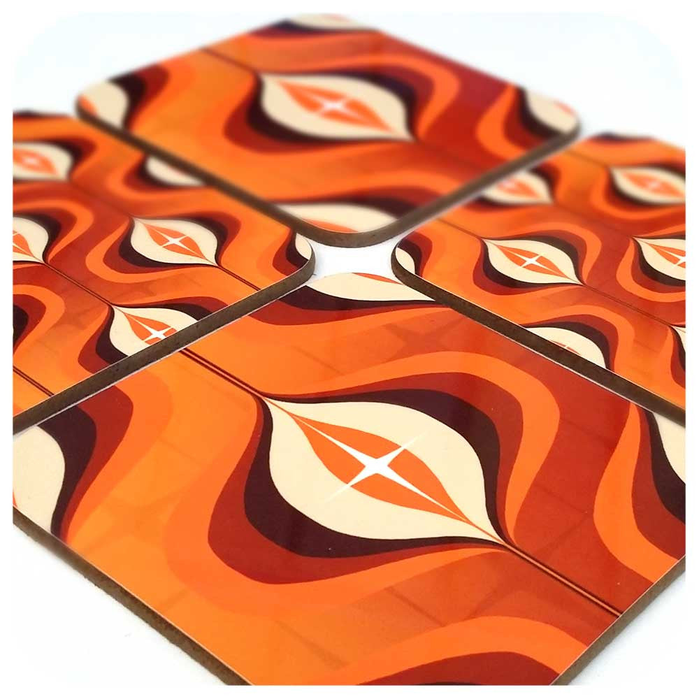 Mid century op art coasters, orange, set of four