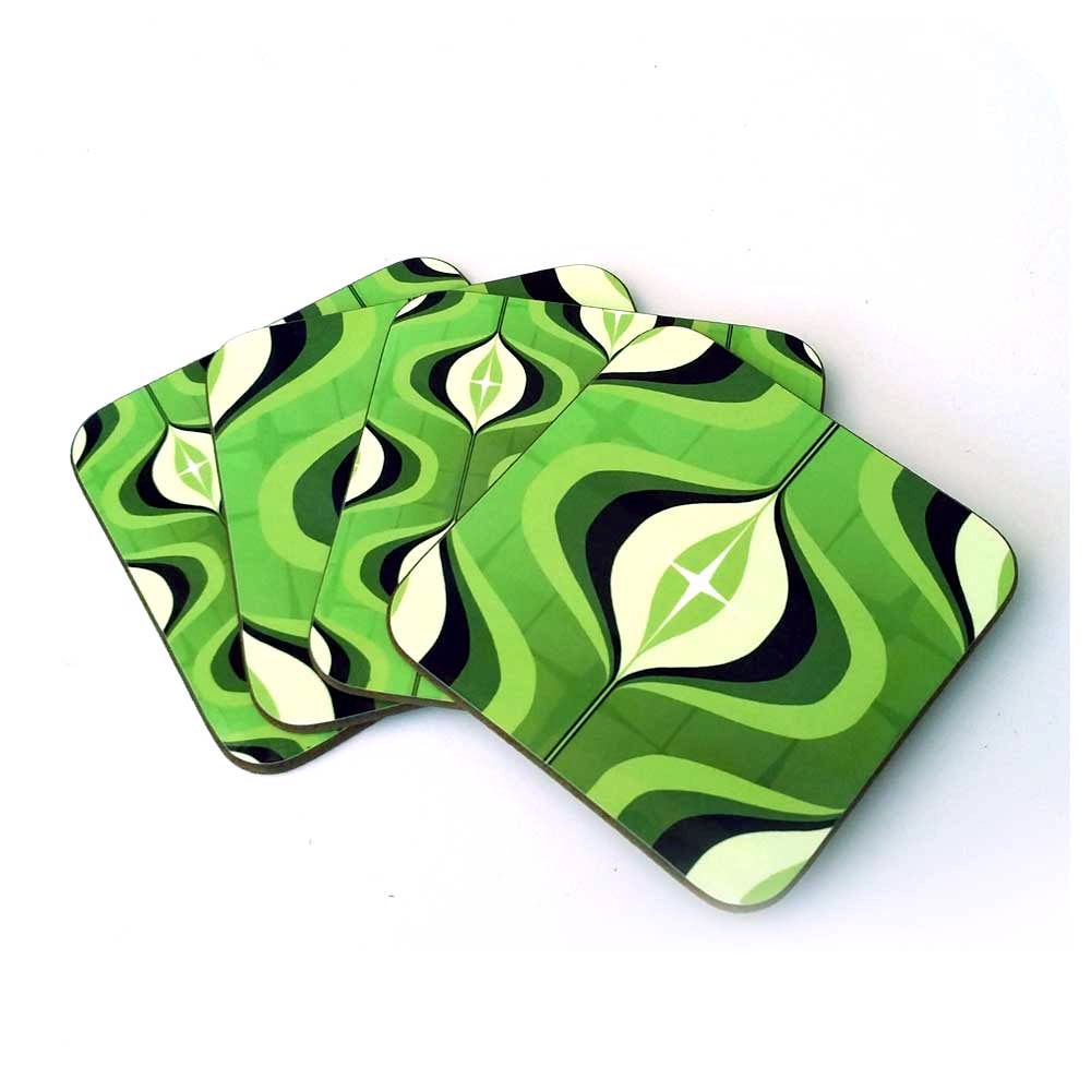 Green 70s Op Art Coasters, set of 4 in a fan arrangement | The Inkabilly Emporium