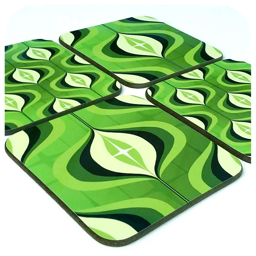 Green 70s Op Art Coasters, set of 4 | The Inkabilly Emporium