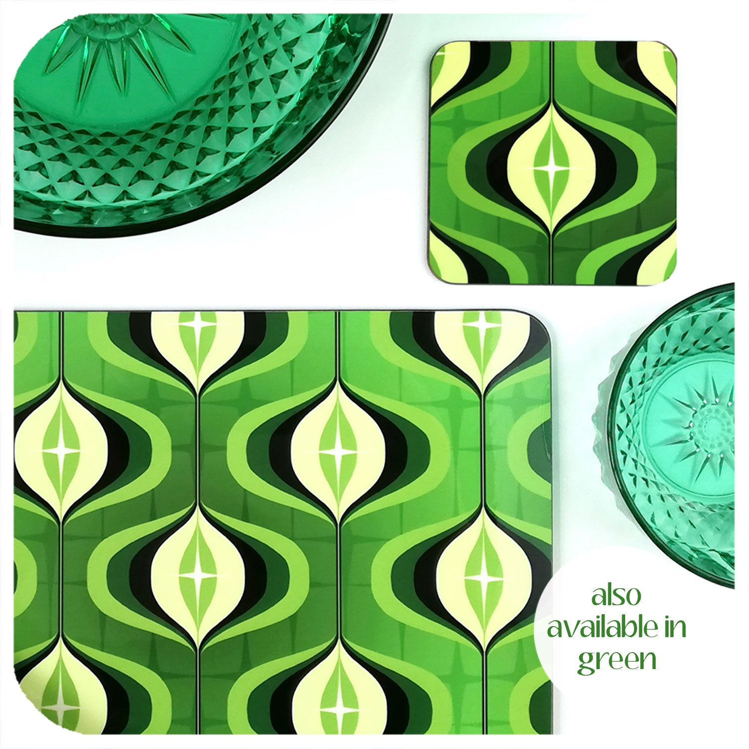 70s style Op Art Tableware in Green | The Inkabilly Emporium